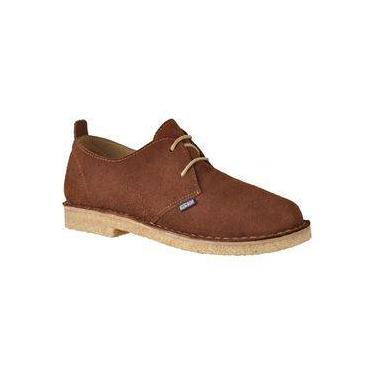 Sapato Casual Safari Couro Camurça Sola Crepe Unissex Castor