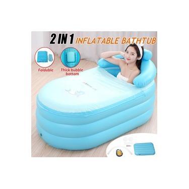 Azul Portátil Inflável Adulto PVC Banheira Quente Banheira Dobrável Indoor Banheiro Banheira SPA Fit Pessoa 150-170 CM