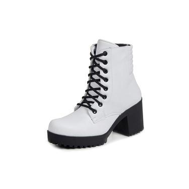 Ankle Boot Tratorado Cadarço Touro Boots Feminino Branco