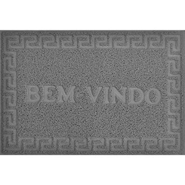 TAPETE PARA PORTA VINYL BEM VINDO 0,40 X 0,60 / NIAZITEX Cinza