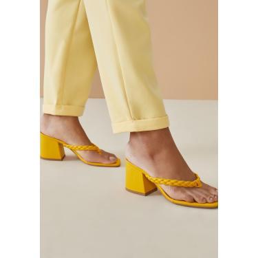 Imagem de Sandália AMARO De Dedo Tiras Trançadas Amarelo  feminino