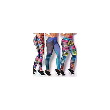 Imagem de Kit 10 Calças Legging Cós Alto Roupas De Academia Femininas