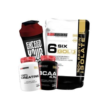 Kit 100% Whey Protein Isolado 2kg + Creatina + BCAA + Shaker - Bodybuilders