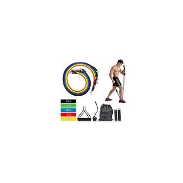 Kit 11 peças Extensor Elástico para Exercício Faixa Elásticas ao exercício Elástico Resistência extensores para exercícios Set tubo elástico Fisioterapia Yoga Pilates