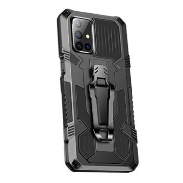 Imagem de SHUNDA Capa para Samsung Galaxy M51, armadura de proteção de nível militar, capa resistente com absorção de choque, suporte integrado - preta