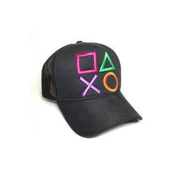 Boné Playstation Preto - Botões Game Jogos Ps2 Ps3 Ps4 fd7fc7154cb