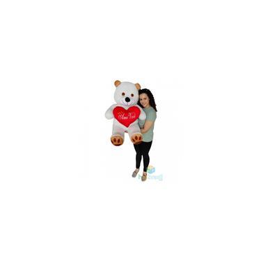 Imagem de Urso de Pelucia Gigante 1 metro com almofada coração Amo Voce