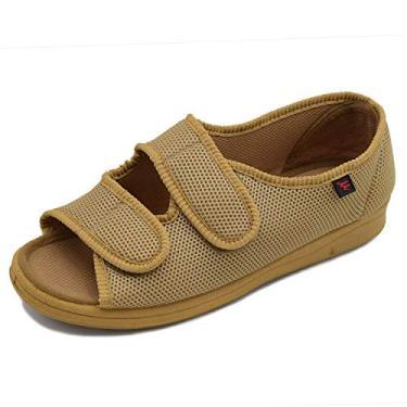 W&Lesvago sandália feminina Diabetic - Largura ajustável Artrite e Edema sapatos MS7008, Caqui, 7