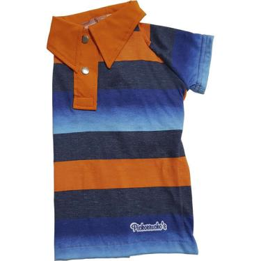 Camiseta Polo Sport Pickorruchos Listrada Azul e Laranja - Tam. 03