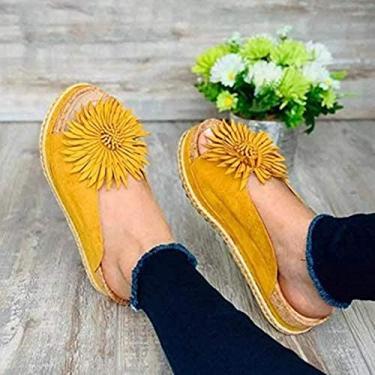 Imagem de 2021 Girassol plataforma chinelos bico aberto, sandália feminina elegante de flor deslizante praia confortável Boho girassol plataforma chinelos bico aberto couro PU (amarelo, 42)