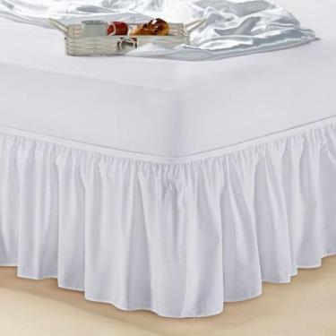 Imagem de Saia Box Cama Solteiro Com Elástico Branca - Essência Enxovais