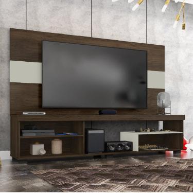Rack com Painel para TV de até 60 Polegadas 2 Prateleiras e Nichos Rock Espresso Móveis
