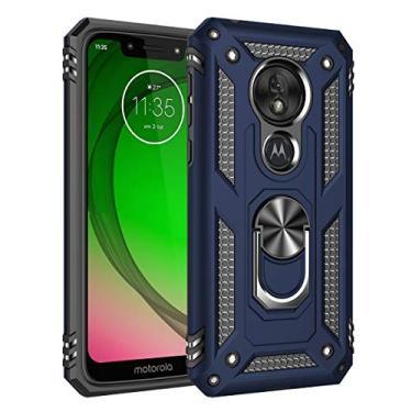 Hicaseer Capa para celular Moto G7 Play (EUA), policarbonato + TPU antiqueda antichoque, antiarranhões, magnético, rotação de 360 graus, capa completa para Motorola Moto G7 Play (EUA) – Azul