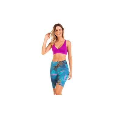 Top Fitness Modelo Básico de Bojo Removível com Costas Nadador em Suplex Fuchsia