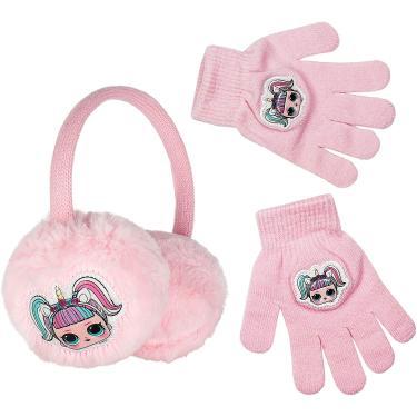LOL Surprise Winter Earmuffs & Gloves Set for Girls, Faux Fur Girls Ear Muff Set