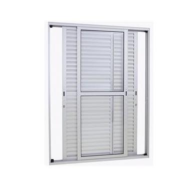 Porta-Balcão de Correr Veneziana Sasazaki Alumifort em Alumínio 3 Folhas Móveis 2,16mx1,60mx13cm Branco