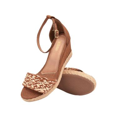 Imagem de Sandália Feminina Anabela Dunah Confort Sapato Caramelo  feminino