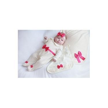 Saída de Maternidade Sonho Meu Menina Poá Pink