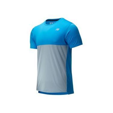 Camiseta de Manga Curta Manga Curta New Balance Accalerate | Masculino Azul - P