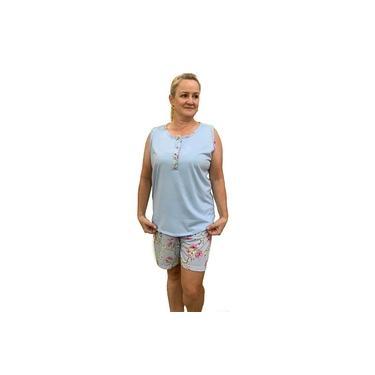 Pijama feminino bermuda regata botões senhora maternidade 100.51 G