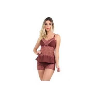 Pijama Short Doll Baby Doll IMI Lingerie Em Microfibra E Renda Lina Vinho