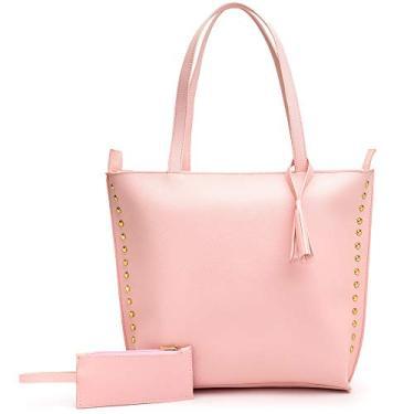Imagem de Bolsa Feminina Sacola Grande detalhes dourado +Porta Moeda (rosa)