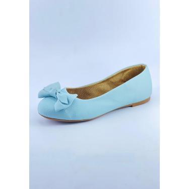 Sapatilha Bico Redondo Michelle Calçados Femininos Azul Marinho Enfeite Laço Manual  feminino