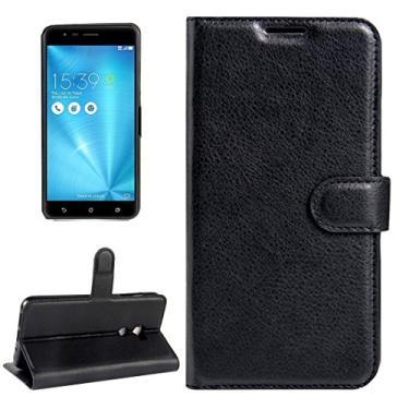 Capa Capinha Carteira Case 360 Para Asus Zenfone 3 Zoom S Ze553kl Tela De 5.5Couro Sintético Flip Wallet Para Cartão - Pronta Entrega (Preto)