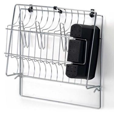 Escorredor 11 pratos de parede e porta talheres Aço cromado