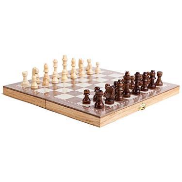 Nishore Conjunto de xadrez de madeira multifuncional 3 em 1 Jogo de xadrez dobrável Jogos de viagem Jogo de damas de xadrez Jogo de damas e gamão Entretenimento Brinquedos educativos