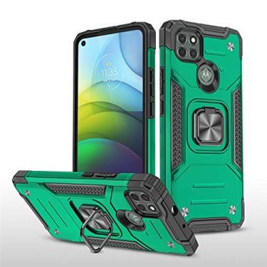 XYX Compatível com Motorola G9 Power Case com anel de metal de rotação 360 para carro magnético compatível com Motorola Moto G9 Power - verde escuro