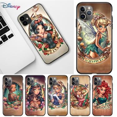 Disney princesa para apple iphone 12 11 pro max mini xs max xr x 8 7 6s plus 5S se 2020 preto caso