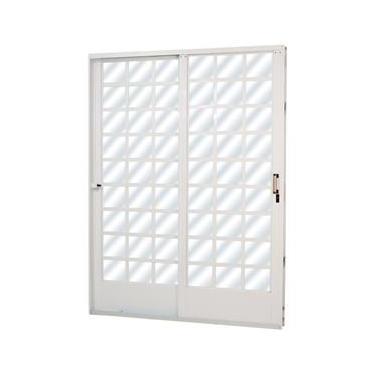 Porta de Correr em Aço Quadriculado 2 Folhas Vidro Liso MGM 2,15m x 1,60m Direita