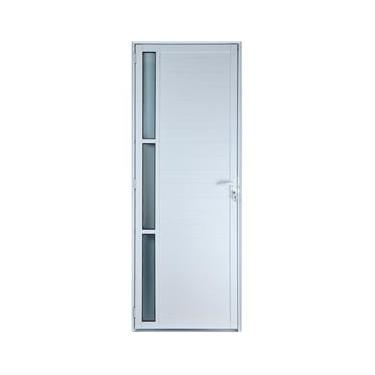 Porta De Alumínio Lambril Com Visor Cor Branco 2,10 X 0,80 Esquerda Linha All Soft