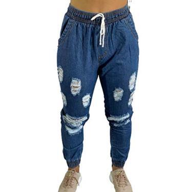Calça Feminina Jogger Jeans Cintura Alta Blogueira C35 Cor:Azul Escuro;Gênero:Feminino;Tamanho:G