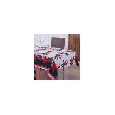 Imagem de Toalha de Mesa Natal Retangular para 6 Lugares Poá com Velas