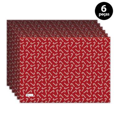 Imagem de Jogo Americano Mdecore Natal Bengala 40x28 cm Vermelho 6pçs