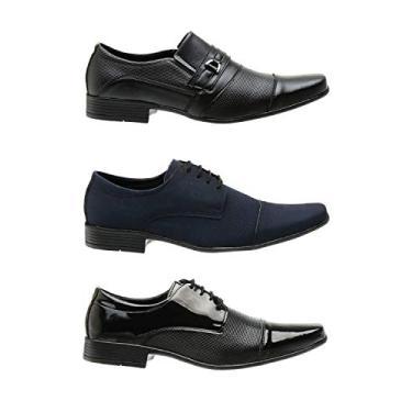 Kit 3 Pares Sapato Social Masculino Antiderrapante Conforto Preto + Azul 38