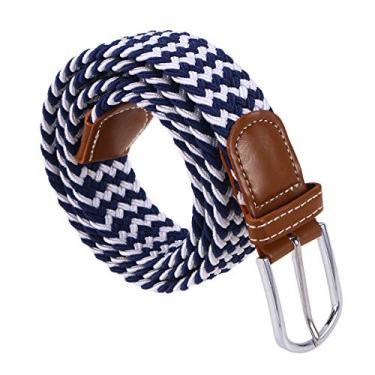 Vosarea Cinto de lona unissex com fivela de metal elástica (azul e branco)