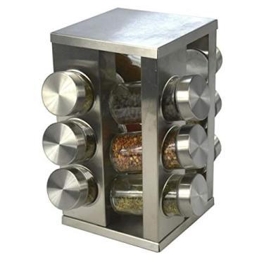 Imagem de Porta Tempero Condimento Inox 12 Potes + Suporte Giratório