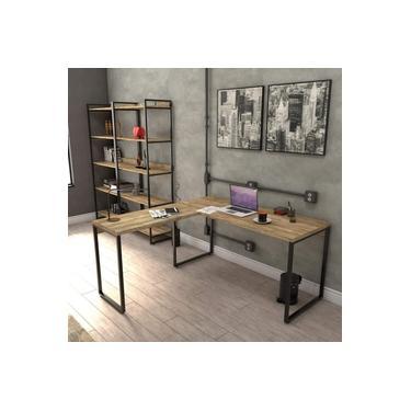 Mesa de Escritório em L Estilo Industrial 1,50mx1,50m Kuadra Compace Carvalho