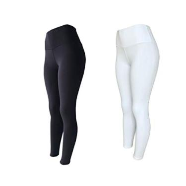 Kit 2 Legging Suplex Poliamida Power Cós Alto PRETO-BRANCO M