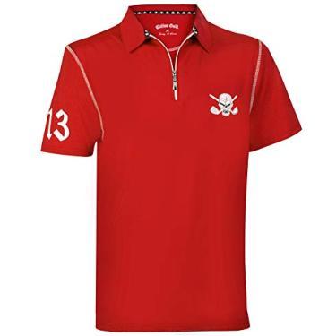 Imagem de Camisa masculina de golfe híbrida Performance, Red/White, 4X-Large
