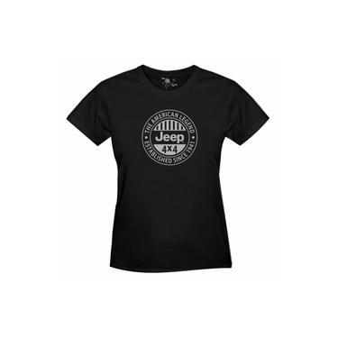 Camiseta Do Jeep American Legend Estampa Prata - Feminina