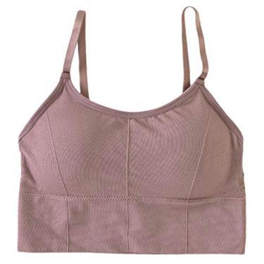 oshhni Sutiã esportivo acolchoado sem costura, top colete confortável para mulheres, Camafeu marrom, tamanho �nico