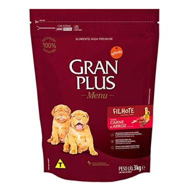 Ração para Cães Filhotes Gran Plus Menu Carne e Arroz 3Kg