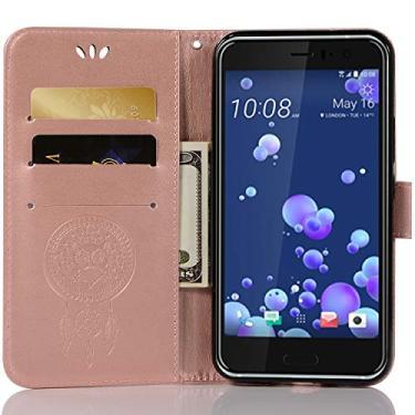Capa de couro para HTC U11, capa carteira HTC U11, capa flip floral em couro PU com suporte para cartão de crédito para HTC U11 de 5,5 polegadas