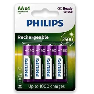 Pilha Recarregável Philips Aa 2500mAh Pequena com 4 Unidades Prontas pro Uso RTU