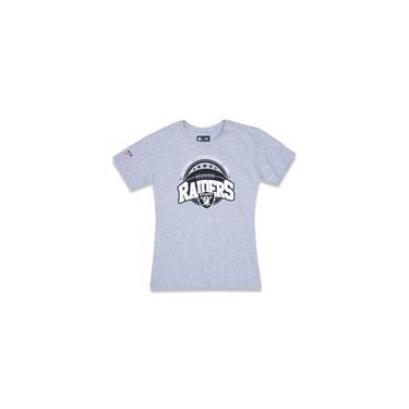 Camiseta Juvenil 1960 Oakland Raiders Nfl Mescla Cinza New Era