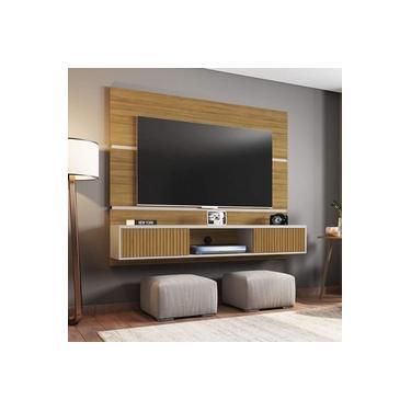 Painel para TV até 65 Polegadas 2 Portas Âmbar Móveis Bechara Cinamomo/Off White/Ripado